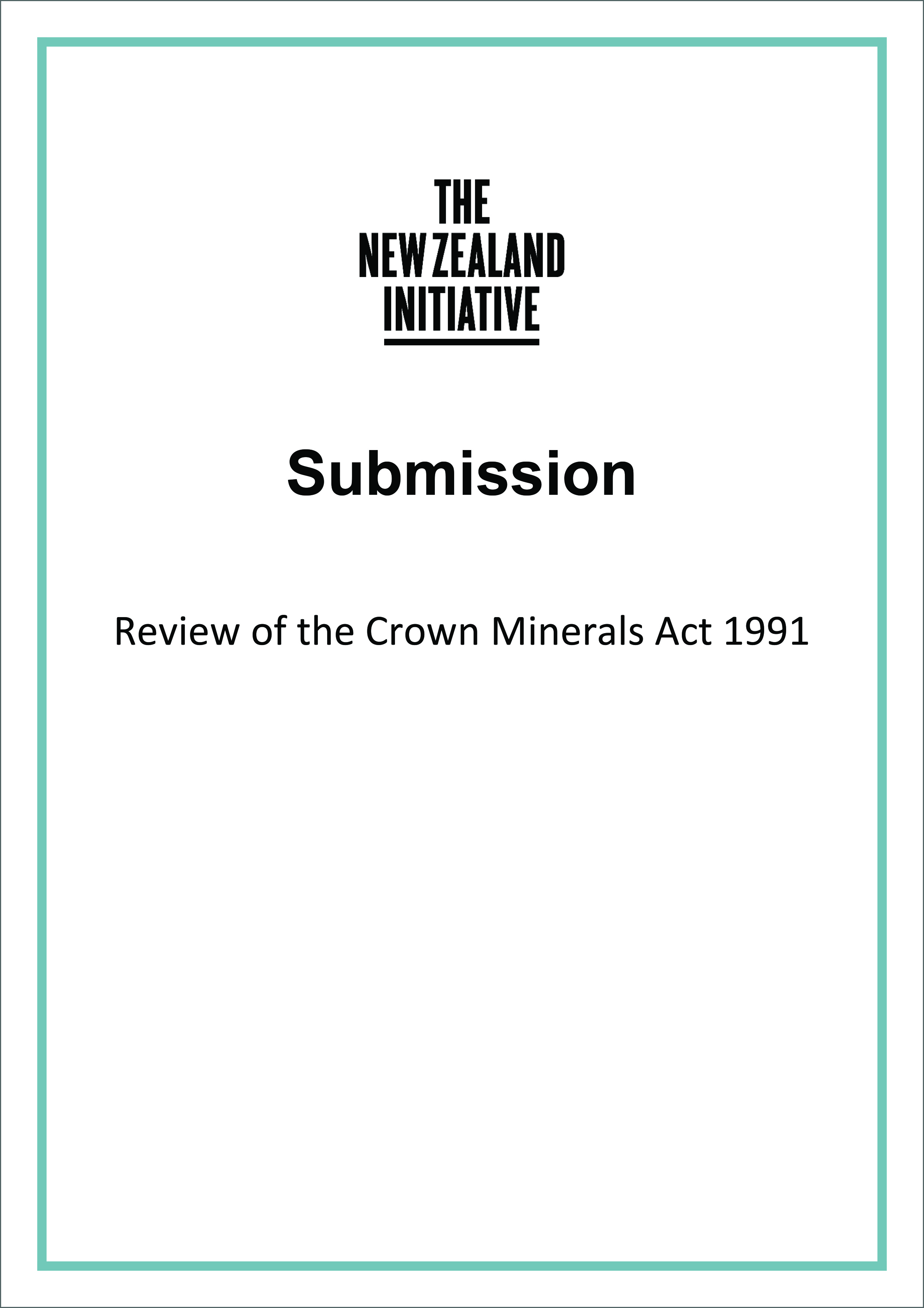 Submission Crown Minerals Act cover3